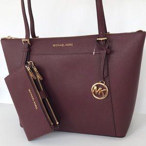 2pc Michael Kors Ciara tote double zip wallet set